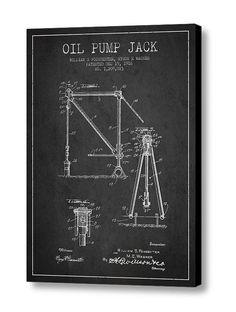 1916 Oil Pump Jack Patent Canvas Print Wall Art by PatentsWallArt