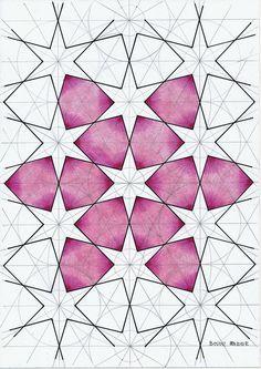Islamic geometric pattern I - Art Corner Geometric Pattern Design, Geometry Pattern, Mandala Pattern, Geometric Designs, Geometric Shapes, Islamic Art Pattern, Arabic Pattern, Geometric Mandala, Geometric Drawing