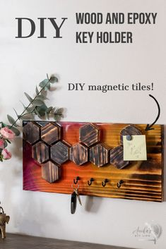 DIY wooden keyholder with colorful epoxy and DIY magnetic hexagon tiles. Great entryway and memo board. Perfect beginner project using Bernzomatic blowtorches. #ad #anikasdiylife Scrap Wood Projects, Beginner Woodworking Projects, Diy Furniture Projects, Woodworking Ideas, Crafts To Make, Diy Crafts, Furniture Makers, Wall Key Holder, Diy Father's Day Gifts