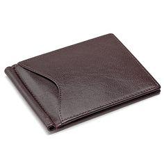 money clip wallets for men front pocket | Men's Genuine Leather Bi-Fold Wallet with Money Clip - Money Clips