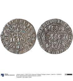 Portugal: Johann I. Münze Johann (Joao) I. (1385-1433), König von Portugal, Königtum, Münzherr 1385-1433 Land: Portugal (Land) Münzstätte/Ausgabeort: Lissabon Nominal: Real de 10 Soldos, Material: Silber, Druckverfahren: geprägt Gewicht: 2,36 g Durchmesser: 24 mm