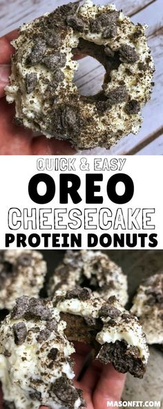 Recipes for Oreo cheesecake protein donuts with a cheesecake frosting or lower calorie donut glaze. Each donut has over 10 grams of protein and every bit of the great Oreo flavor. via @masonfitdotcom