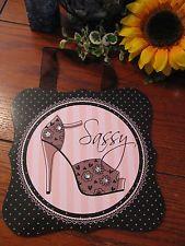 "New French Glam Pink, Black & White ""Sassy"" Wall Sign w/Bling! & Ribbon Hanger"