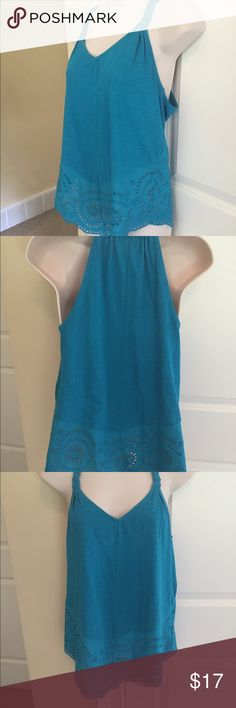 Anthropologie lace trim aqua tank size xs Quality top purchased at anthro. Cute lace detail. Excellent condition. Laying flat, measuring from pit to pit is approx. 16.5in. Shoulder to hem approx. 26in Anthropologie Tops Tees - Short Sleeve