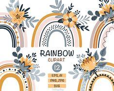 Rainbow clipart Rainbow svg Pastel rainbow baby shower Flower clipart Flower svg Vector rainbow clip art set Digital clip art Commercial use Flower Svg, Flower Clipart, Baby Nursery Decor, Nursery Wall Art, Baby Shower Clipart, Rainbow Clipart, Baby Shower Flowers, Color Naranja, Floral Logo