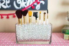 Vanity: Glass Cube Brush Holder