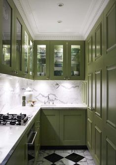 greg natale green kitchen via coco and kelly. Unusual color for the kitchen, but really works against black and white marble.
