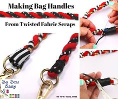 Mayra from So Sew Easy Here's a fun way to make bag handles. Use your fabric scraps!! Mayra from So Sew Easy shares a tutorial showing how to make these twisted scrap fabric bag handles. I…