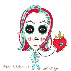 Doctor skull art by patricia fornos