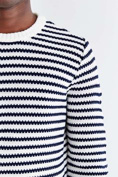 CPO Stripe Rolled Hem Crew Neck Sweater - Urban Outfitters