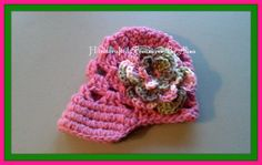 Handmade infants pink crochet hat w/ Pink Camo by CraftinginStyle