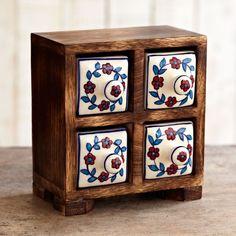 Mango Wood ceramic 4 drawer set