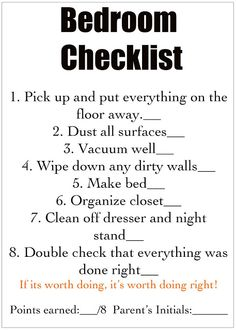Detailed Chore Cards- Love that one step is to Double check that everything was done right.- SH