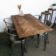 ダイニングテーブル 机 4人掛け 古材ダイニングテーブル ヘリンボーン ブルックリンスタイル|rakusouya|01