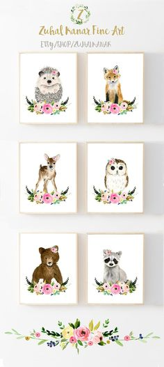 Floral Nursery Set, Woodland animal prints, Baby girl nursery set, Baby girl, baby girl nursery, floral nursery prints, nursery art, nursery decor, zuhal kanar, hedgehog painting, deer painting, owl painting, raccoon, bear. girl baby shower decor, baby shower gift, girl room decor, flower nursery decor