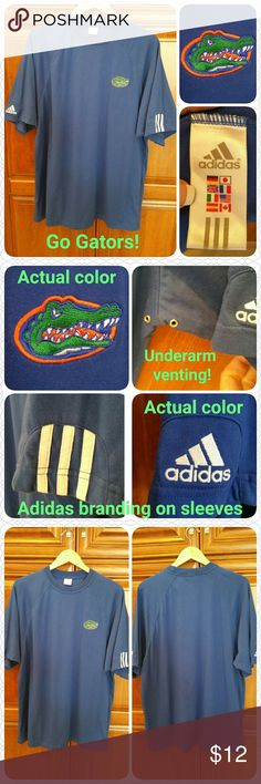 "Univ of Florida Gators shirt, Adidas, size L, EUC Short-sleeved Univ of Florida Gators shirt  * Cobalt blue * Adidas brand * Size Large (48"" chest) * Cotton poly blend * Underarm vents for comfort  * Excellent condition, worn once!  * Non-smoking home of Aurora33180  * Bundle discounts offered! Adidas Shirts Tees - Short Sleeve"