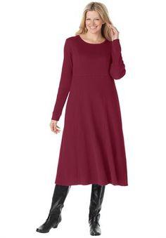 Thermal knit A-line dress