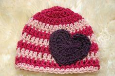 Crochet valentines pink beanie hat with purple by emmascozyattic, $22.00