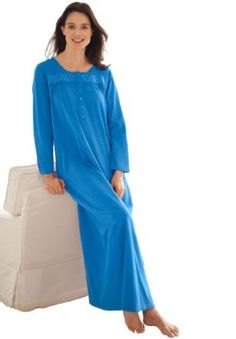 Only Necessities Plus Size Long Knit Gown (Blue,2X) Only Necessities. $17.49