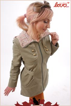 Trenchcoat Laurélie Light Olive Mille Fleurs (cras from mydearlove® - shop by DaWanda.com