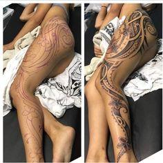 Tatouage femme Maori Polynésien sur Cuisse