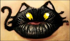 I was so happy about the response to my Bumble Bee lip art that I've decided to do more animal creations. Here we have a black cat! Crazy Lipstick, Lipstick For Fair Skin, Lipstick Art, Lipstick Style, Black Lipstick, Lipstick Designs, Lip Designs, Lips Painting, Body Painting