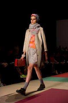 The Sartorialist--Marc Jacobs. (dress of similar color, orange wool scarf, socks, brogues)