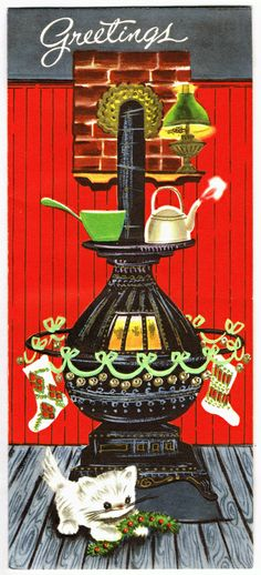 Christmas greetings - kitten by old fashioned stove