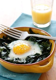 Baked Eggs with Spinach � a simple breakfast of baked eggs with wilted baby spinach. High in vitamin A, C, Folate, Manganese and Potassium.