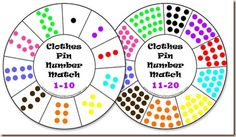 Clothes Pin Number match. PDF. Print (laminate if you want, or not. Card stock would be best if you aren't laminating), cut out the circle and make numbered (and colored. You can remove metal on the clothespins to paint and then put them back together) clothes pins to clip on the card.