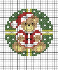 Santa teddy circle X-stitch Small Cross Stitch, Cross Stitch Letters, Cross Stitch Cards, Cross Stitch Rose, Cross Stitch Flowers, Cross Stitching, Cross Stitch Embroidery, Wedding Cross Stitch Patterns, Disney Cross Stitch Patterns