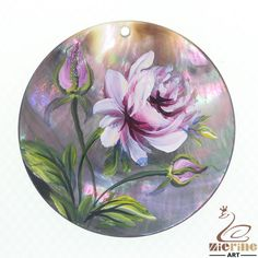 Woman's Flower Pendant Hand Painted  Peony  Natural Black Lip Shell ZL302411 #ZL #Pendant