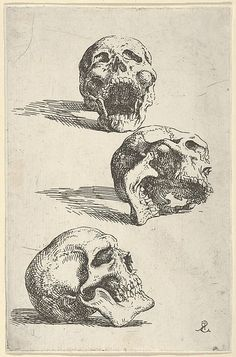Salvator Rosa (Italian Three Human Skulls - Study for Democritus in Meditation The Metropolitan Museum of Art New York. The Elisha Whittelsey Collection The Elisha Whittelsey Fund 1953 Human Skull, Angels And Demons, Vanitas, Skull And Bones, Memento Mori, Skull Art, Gravure, Macabre, Art And Architecture