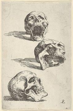 "Salvator Rosa (Italian, 1615–1673). Three Human Skulls - Study for ""Democritus in Meditation"", 1662. The Metropolitan Museum of Art, New York. The Elisha Whittelsey Collection, The Elisha Whittelsey Fund, 1953 (53.509.5)."