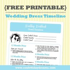 Dress info.                               Wedding Dress Checklist Free Printable | Confetti Daydreams - GRAB THIS COUNTDOWN CHEAT SHEET TO FINDING YOUR DRESS!