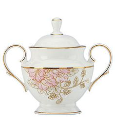 """Marchesa Painted Camellia Sugar Bowl with Lid. 5-1/3"""" wide. No height given.  $180.00 at macys.com.  That just seems so high.  Dishes are $50 and less"""
