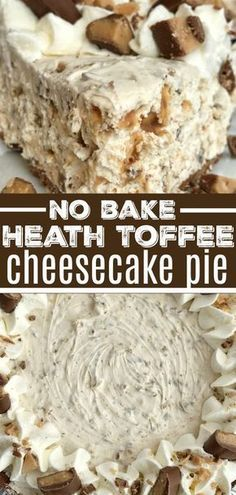 Toffee Cheesecake Pie is a cool and creamy no bake pie. Toffee cheesecake pie has a creamy cheesecake filling, and Heath candy bar pieces all inside an easy store-bought chocolate graham cracker crust. You will love how fast & easy it is to make. Keks Dessert, Dessert Oreo, Smores Dessert, Dessert Sans Gluten, Bon Dessert, Heath Bar Dessert, Appetizer Dessert, Desserts Nutella, Easy Desserts