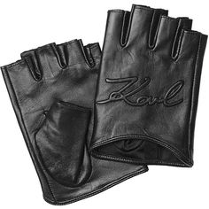 Karl Lagerfeld Logo Embossed Fingerless Leather Gloves (£105) ❤ liked on Polyvore featuring accessories, gloves, black, fingerless gloves, karl lagerfeld, leather gloves, karl lagerfeld gloves and fingerless leather gloves