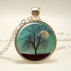 Tree Necklace Shooting Star And Moon Jewelry Comet by rainnua, $14.45