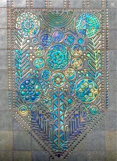 Zsolnay Art Nouveau Tile Panel --- edge or burn design into wooden surface, fill with smashed stained glass, overlay with resin.