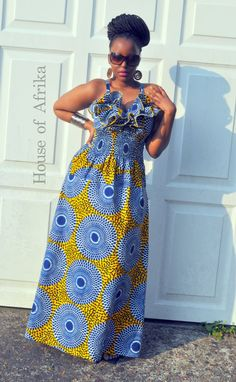 NEW LISTING Lola Dress in mustard blue and white by HouseofAfrika