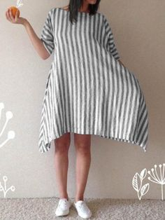 Casual Women Cotton Loose Striped Round Neck 3 4 Sleeve Dress With Pockets  Plus Size 20a119ea4