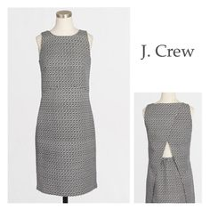 J. Crew Peekaboo Dress ~ NWT PRETTY J. CREW Peekaboo Sheath Dress ~ Charcoal/White ~ Side Zip ~ Falls above the knees ~ #1700 Trades or Holds ✅Use offer option ❤️Bundles J. Crew Dresses