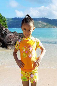 e098279403 Girls Orange Daisy Rash Guard Set w/ Goggles - Jump'N Splash Kids Swimwear