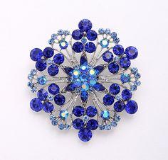 Blue Brooch, Rhinestone Royal Blue Broaches, Blue Bridal Bridesmaid Dress Sash Brooch, Something Blue Wedding Gift, Crystal Blue Brooches