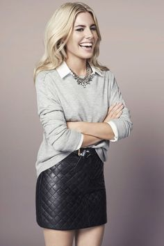 Quilted veggie leather belted skirt  worn with grey sweater and white shirt.. DIY the look yourself: http://mjtrends.com/pins.php?name=quilted-veggie-leather-for-skirt_1