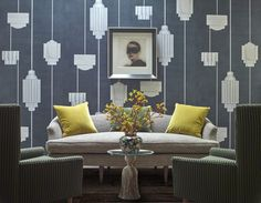 The moody purple and gray Art Deco-inspired wallpaper would make Jay Gatsby proud.