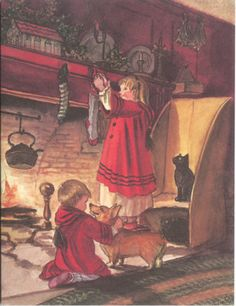 Tasha Tudor Christmas Card-I fashioned my fireplace in the kitchen after hers...what an influence she had on me.