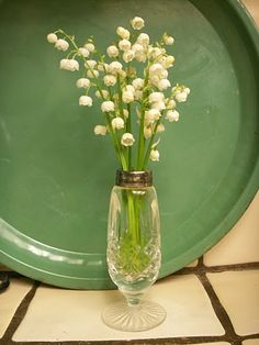 Lily-of-the-valley in crystal salt shaker.
