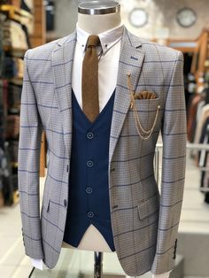 Wedding Suits Slim-Fit Plaid Suit Vest Gray – BOJONI - Available Size : material : viscose , polyester Machine washable : No Fitting : slim-fit Remarks : Dry Cleaner Mens Suit Vest, Mens Suits, Suit For Men, Costume Africain, Suit Combinations, Slim Suit, Designer Suits For Men, Vest Outfits, Mens Fashion Suits